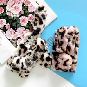 For iPhone 11 Plush Leopard Rabbit Print Phone Protect Case