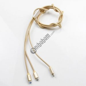 3 in 1 micro USB nylon metal woven data line for mobile phone charging (50 pieces)