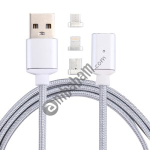 1m 2.4A Magnetic Cable Woven Style 3 in 1 Micro USB / USB-C / Type-C / 8 Pin to USB 2.0 Data Sync Charging Cable