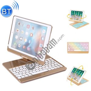 360 Degrees Rotation Bluetooth Keyboard + Horizontal Flip Leather Case with Holder & Colorful Backlight for iPad Pro 9.7 inch, iPad Air, iPad Air 2, iPad 9.7 inch (2017), iPad 9.7 inch (2018)