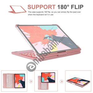 360 Degrees Rotation Colored Backlight Bluetooth Keyboard with ABS Cover for iPad Pro 11 (2018)
