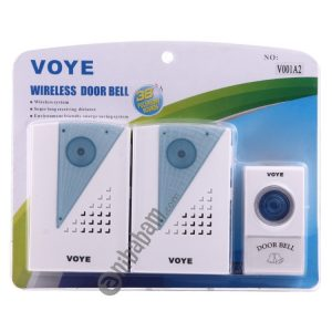 VOYE V001A2 Wireless Smart Music LED Home Doorbell with Dual Receiver, Remote Control Distance: 120m (Open Air)