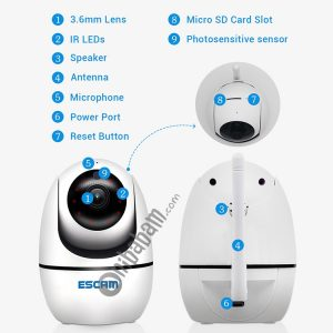 ESCAM PVR008 HD 1080P WiFi IP Camera, Support Motion Detection / Night Vision, IR Distance: 10m (White)