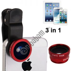 3 in 1 Photo Lens Kits (180 Degree Fisheye Lens + Super Wide Lens + Macro Lens)