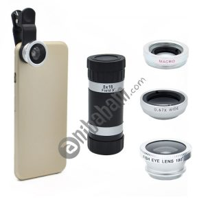4 in 1 Universal 180 Degree Fisheye Lens + Marco Lens + 0.67X Wide Lens + 8x Zoom Telescope Telephoto Lens with Clip