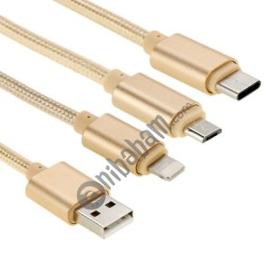 1.2m USB-C / Type-C 3.1 & 8 Pin & Micro USB 5 Pin to USB 2.0 Woven Style Charging Cable