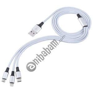 2A 1.2m 3 in 1 USB to 8 Pin & USB-C / Type-C & Micro USB Nylon Weave Charging Cable