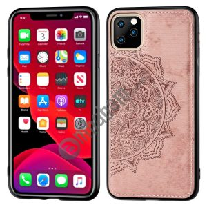 Embossed Mandala pattern PC + TPU + Fabric Phone Case for iPhone 11 Pro Max , with Lanyard & Magnetic
