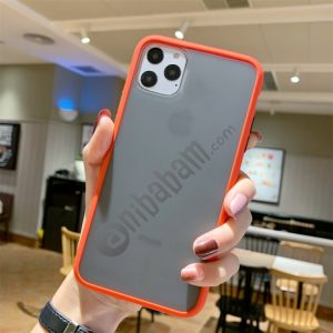 For iPhone 11 Pro Max Shockproof Solid Color Border Protective Case