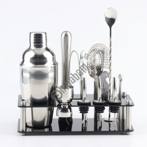 18 in 1 Cocktail Shaker Tools Set with Acrylic Mount