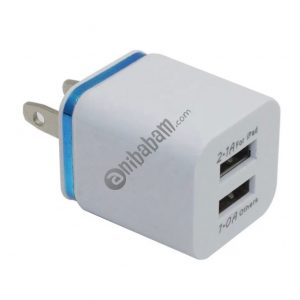 For iPhone & Android Dual USB Wall Charger Full 5V 2.1A / 1A Travel Adapter EU/AU/UK/US plug