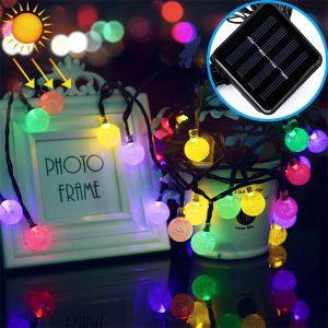 50 LEDs Bubble Ball Outdoor Garden Waterproof Christmas Spring Festival Decoration Solar Lamp String