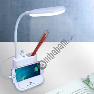 Multi-function Touch Switch USB Charging LED Desk Lamp with Phone Holder & Pen Holder