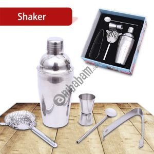 2 PCS (5 in 1) Classic Stainless Steel Shaker Set, Capacity: 550ml (Shaker + Jigger + Strainer + Ice Clip + Stirrer Pipe)(Silver)