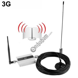 3G Signal Amplifier with Signal Strengthen Antenna, Cable Length: 10m (Silver)