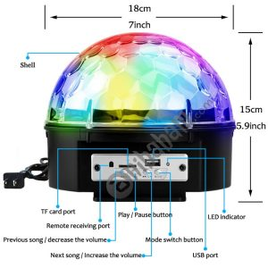 YouOKLight YK2227 9-Colors LED Music Crystal Magic Ball Light Bluetooth Disco DJ Stage Light with Remote Control