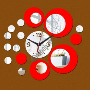 2 PCS 3D Stereo Decorative Clock Acrylic Digital Mirror Wall Sticker Wall Clock