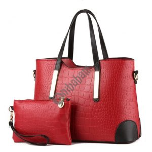 2 in 1 Vintage Messenger Bags Shoulder Handbag Women Crocodile Pattern Composite Bag Leather Wallet