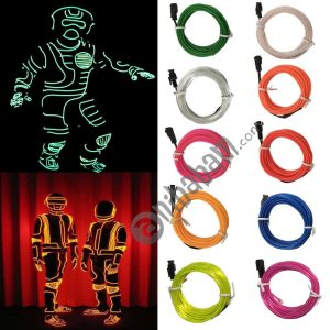 Flexible LED Light EL Wire String Strip Rope Glow Decor Neon Lamp USB Controlle 3M Energy Saving Mask Glasses Glow Line F277