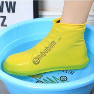 2 Pairs Waterproof Shoe Cover Raincoat Non-slip Reusable Silicone Insole Shoe Slip Rainshoes Cover (Short Tube) S,M,L Size