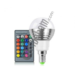 3W RGB LED Bulb 16 Color Magic Night Lamp Dimmable Stage Light with 24-keys Remote Control E14