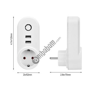 ZigBee 3.0 Dual USB Smart Socket Switch, EU Plug (White)