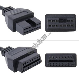 12 Pin to 16 Pin OBDII Diagnostic Cable for Mitsubishi