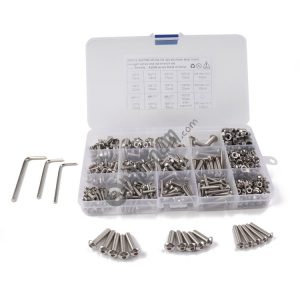 500 PCS 304 Stainless Steel Screws and Nuts Hex Socket Head Cap Screws Gasket Wrench Assortment Set Kit