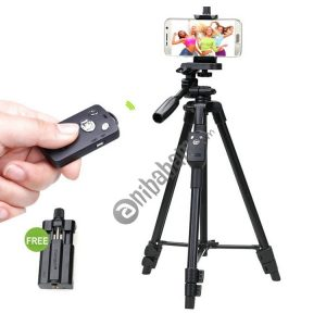 YUNTENG VCT-5208RM Aluminum Magnesium Alloy Leg Tripod Mount with Bluetooth Remote Control & Tripod Head & Phone Clamp for SLR Camera & Smartphones, Max Height: 125cm