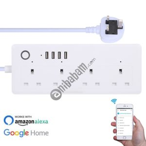 4 x USB Ports + 4 x UK Plug Jack 13A Max Output WiFi Remote Control Smart Power Socket Works with Alexa & Google Home, AC 100-240V, UK Plug