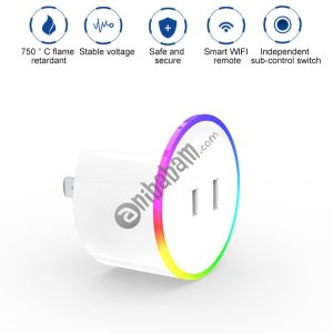 10A RGB Scene Light WiFi Remote Control Smart Socket Works with Alexa & Google Home & IFTTT, AC 100-240V, JP Plug