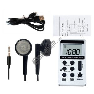 Portable AM / FM Two Bands Rechargeable Stereo Radio Mini Receiver with & LCD Screen & Earphone Jack & Lanyard