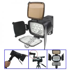 10 LED Video Light with Grip / Two Color Transparent Filter Cover (Tawny / Transparent) / Adjustable Brightness (LED-5012)
