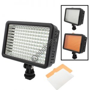 160 LED Video Light with Two Color Temperature Transparent Films (Tawny / White), US Plug (Black)