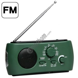 Dynamo / Solar Powered AM / FM Radio with Flashlight (RD332) (Green)