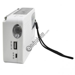 Multi-function Portable Solar / Cranked Dynamo Power LED Flashlight with AM/FM Radio & Mobile Phone Charger