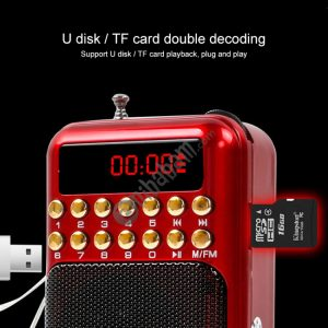 Portable Rechargeable FM Radio Receiver Speaker, Support USB / TF Card / Music MP3 Player