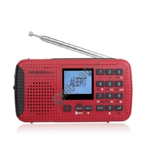 Retekess HR11W FM / AM NOAA Weather Warning Radio, Support MP3 Player / Hand-crank Flashlight / Solar Power (Red)