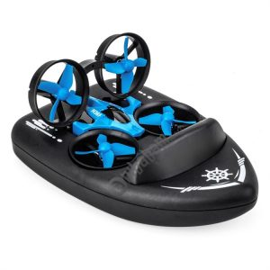 JJR/C 2.4Ghz 3 In 1 Remote Control Triphibian Boat Vehicle Drone RC Speedboat Kids Toy
