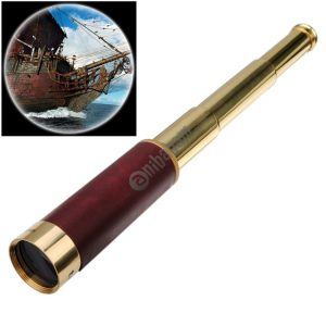 25×30 Portable Pirate Monocular Professional Vision Monocular Telescope with Leather Bag (Gold)
