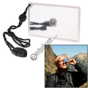 2 in 1 Multifunction Outdoor Survival Signal Mirror with Whistle (Transparent)