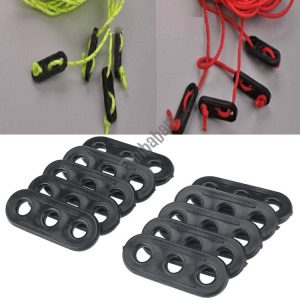 100 PCS Camping Tent Guy Rope Line Tensioners 3 Holes Bent Black Runners Tightener Slip Buckle