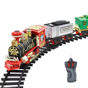 Electric Dynamic Steam RC Track Train Set Simulation Model Toy for Children Rechargeable Children Remote Control Toy Set