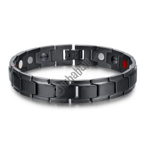 Europe and America Style Fashion Men Jewelry Stainless Steel + Black Plating Magnetic Health Bracelet, Size: 12mm*22cm (Black)