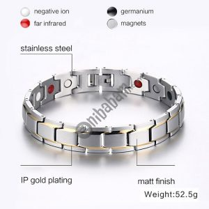 Europe and America Style Fashion Men Jewelry Stainless Steel + Gold-mounted Plating Magnetic Health Bracelet, Size: 12mm*22cm (Steel+Silver)