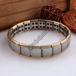 Fashion Stainless Steel Germanium Magnetic Health Bracelet Titanium Steel Jewelry, US Size: 9, Diameter: 6cm, Perimeter: 19cm (gold+silver 19.5×1.3cm)