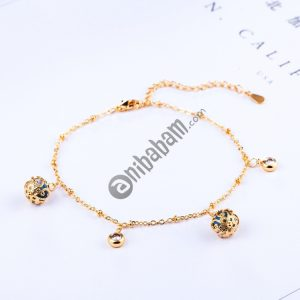 Fashion Lady Beaded Zircon Adjustable All-match Bracelet Bride Wedding Gold-plated Bracelet (Gold)