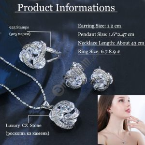 Fashion Cubic Zirconia Knot Earrings Necklace Ring Set for Women, Ring Size: 6, 7, 8, 9 (White)