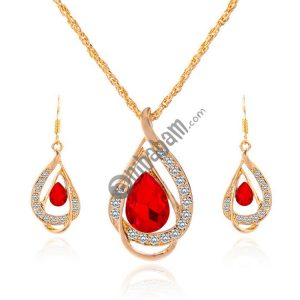 2 Sets Fashion Double Layer Water Drop Crystal Jewelry Sets for Women