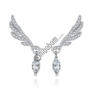 925 Sterling Silver Fashion Elegant Zircon Wings Earrings For Women